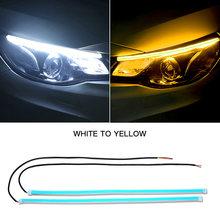 2x ultrafino DRL 30 45 60cm Luz de circulación diurna Flexible suave guía de tubo de coche LED tira Blanca Roja señal de giro amarillo impermeable(China)