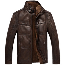 jaqueta de couro masculina men leather jacket  fur coat middle-aged leather  PU jacket coat stand collar size male 4XL(China (Mainland))