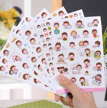 6 Sheets set Cute Lovely Girls Phone Calendar Book Album Diary Decor Paper Sticker Scrapbooking Kawaii