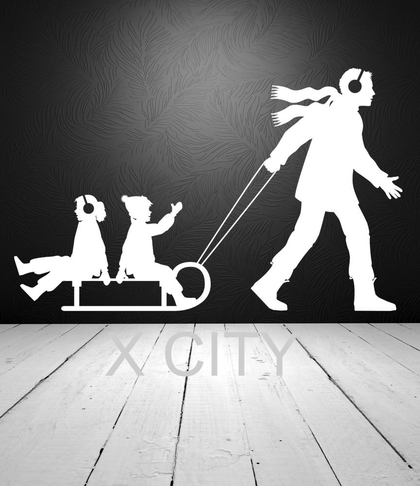 Winter Family Fun Dad Pulling Children on Sled Snow WALL ART STICKER VINYL DECAL DIE CUT KIDS ROOM NURSERY STENCIL HOME DECOR(China (Mainland))