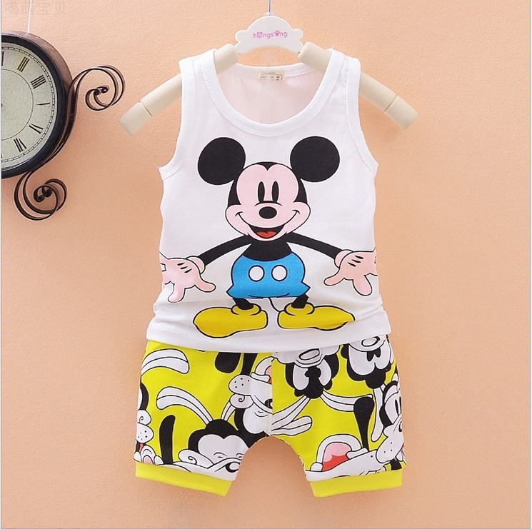 2015 Summer new Baby Boy Clothing Set Sleeveless shirt + cartoon Mickey Shorts Kid suit Boy Summer Mickey Children Set(China (Mainland))