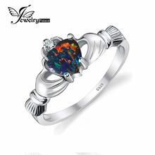 JewelryPalace Сердце Cut 0.4ct Черный Огненный Опал Кольцо Стерлингового Серебра 925 Многоцветный Ирландский Claddagh Кольцо Октября Камень(China (Mainland))