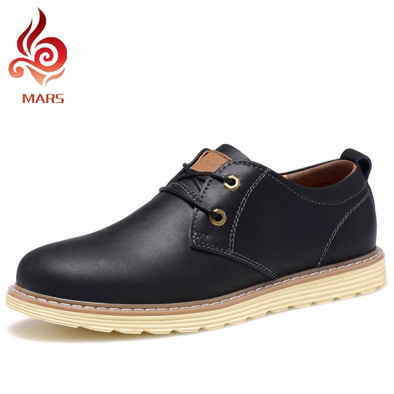 2015 Fashion European Style Genuine Leather Shoes Mens Oxfords Casual Lace-Up Flat Men Sneakers Size 38-44