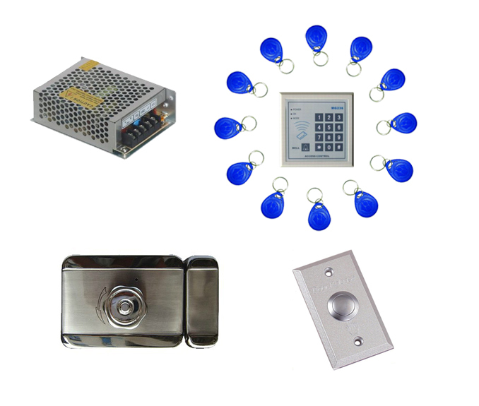 Free ship by DHL,access control kit ,one IC keypad access control+power+mute electronic lock+exit button+10 IC key fob,sn:IC-010(China (Mainland))