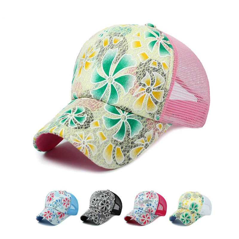 2016 New Flower Hat Baseball Cap Femmes Mesh Cap Spring And Summer Sports And Leisure Sun Visor Sun Hat Gorras Snapback Caps(China (Mainland))