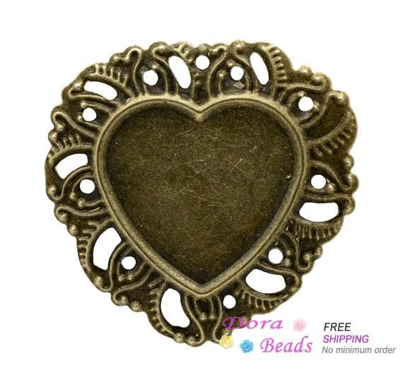 50 Bronze Tone Heart Frame Cameo Settings 35x34mm (B11963)(China (Mainland))