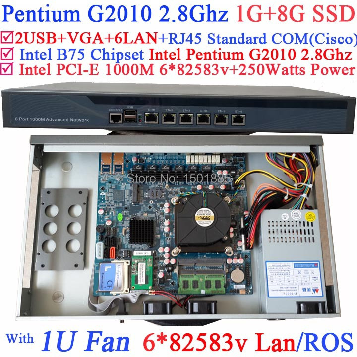Pentium G2010 Dual Core 2.8Ghz Small Linux Router Firewall Server with 6*1000M 82583V(China (Mainland))