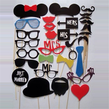 Buy Photo Booth Prop 2017 NewHot Sale 31PCS Funny Photo Booth Props Hat Mustache Stick Wedding Favors Birthday Party Decoration for $1.32 in AliExpress store