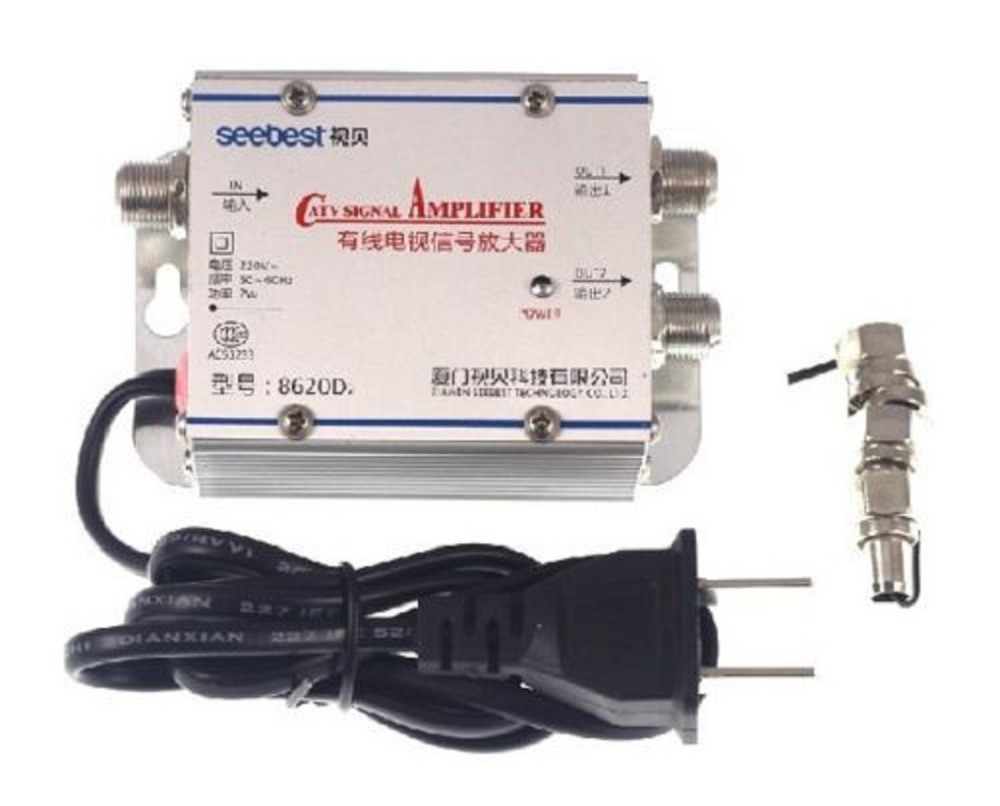 20DB Cable TV ANTENNA Booster Signal Amplifier Splitter HDTV AMP Household Free ship(China (Mainland))