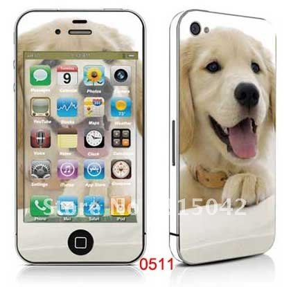Mobile sticker, PVC color skin for iphone 4g, Cell phone color sticker, accept mixed designs, wholesale