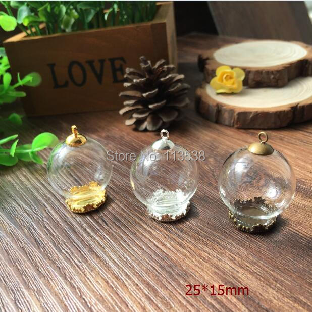 SALE Free Ship! 100sets/lot 20mmx15mm(opening) Glass globe glass global& base & cap set glass dome glass cover vials pendant DIY(China (Mainland))