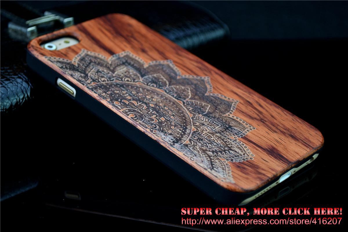 Wood Case for iPhone 6 Plus Wooden New Cover Natural Real Walnut Bamboo Carving Patterns Wood Slice + Plastic Edges Back Cover