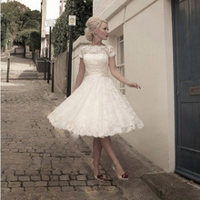 2016 vente chaude Custom Made une ligne Cap manches détachable jupettes Vintage dentelle courtes robes de mariée thé longueur robes de mariée H002(China (Mainland))