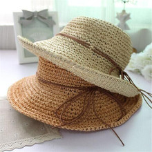 2016 summer folding straw hat outdoor shading plate market cap of natural straw sun hat ladies knit cap(China (Mainland))