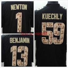 1 Cam Newton 59 Luke Kuechly 13 Kelvin Benjamin Black Salute TO Service Jersey Free Shipping(China (Mainland))