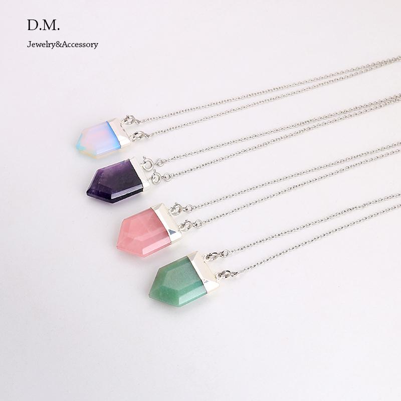 Amethyst Opal Rose Quartz Geometric Birthstone Gemstone Necklace Bohemian Jewelry Quartz Crystal Pendant Natural Stone Necklace