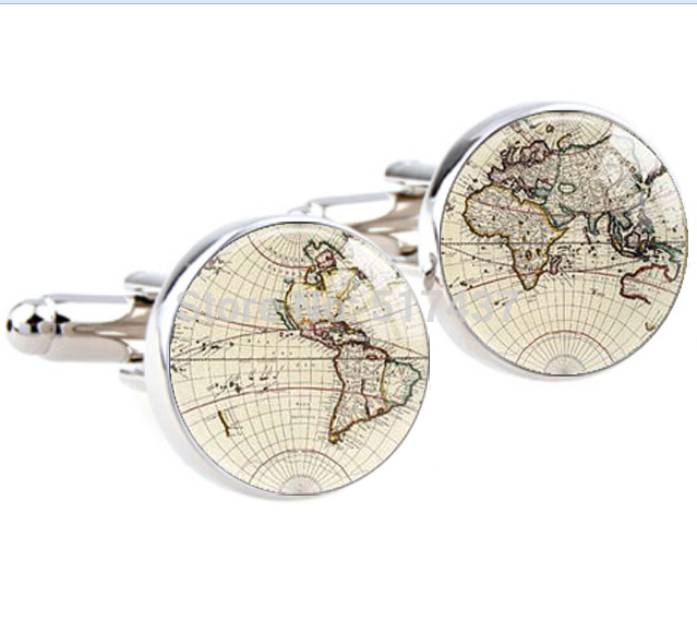 1 pair World Map Cufflinks Silver plated Old World Map Cuff links for men and women Accessories Antique Vintage cufflinks(China (Mainland))
