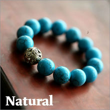 Free Shipping New Natural Turquoise Handmade Beaded Bracelet, Fashion Thai Silver Bangle Accessories, For Men And Women Lovers