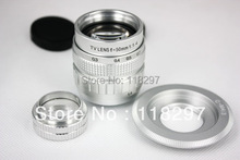 Silver 50mm f/1.4 CCTV Lens for micro camera to m4/3 ep2 gf1 gh1+ C mount to Micro 4/3 m4/3 +2 Macro Rings set(China (Mainland))