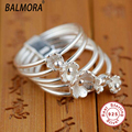 100 Real Pure 925 Sterling Silver Jewelry Ring S925 Elegant Natural Lily Flower Rings for Women