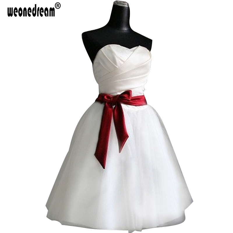 Everning dress 2016 Party short top satin pleated red belt princess New Formal Bridal wedding - Angel Wedding Dress Co., Ltd store