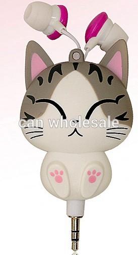 Cheese cat cartoon headphones earphones automatic retractable fone de ouvido portable music headset gift earphones for kids