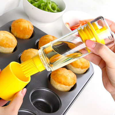 Silicone Honey Oil Bottle kitchen Tools Plastic Squeeze Bottle With Brush Cooking BBQ Tools Storage Bottles Kitchen Accessories(China (Mainland))