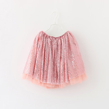 Wholesale Sequins Skirts Babies Girls Candy Color Tutu Lace Skirts Sweet Casual Party Skirts Gold Silver Pink Color Skirts(China (Mainland))