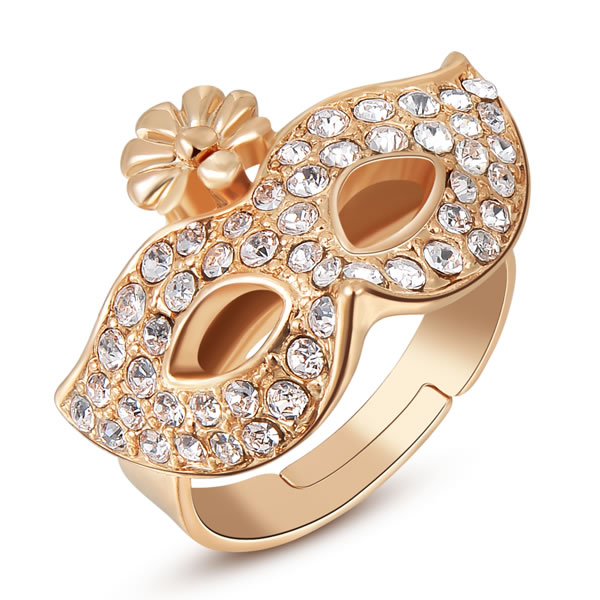 Free Shipping Lose Money Promotions! austrian crystal rings rose golden mask anel de ouro bijoux femme ROXR073(China (Mainland))