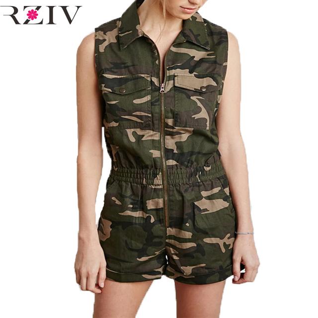 2016 Военный стиль камуфляж печати ползунки женщины комбинезон повседневная мода ...