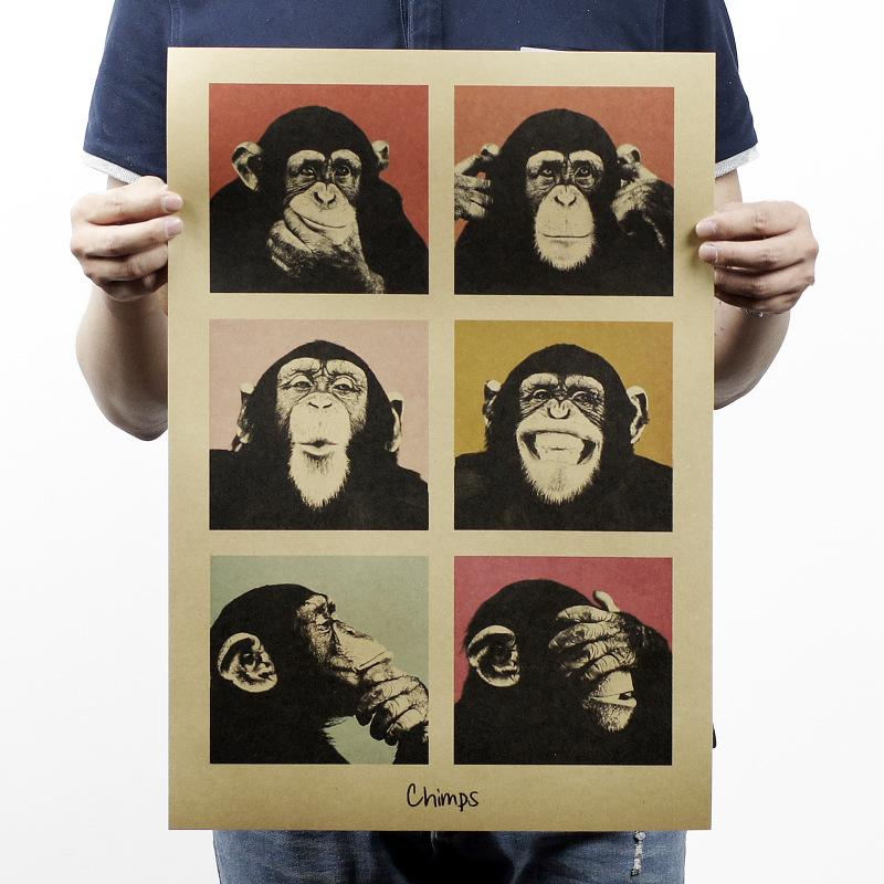 DCTOP Animals Chimps Vintage Poster Gorilla Kraft Paper Retro Wallpaper Bedroom Wall Sticker Bar Decor(China (Mainland))