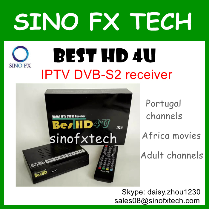 Cheap Arabic IPTV dvbs2 receiver BEST HD 4U open bein sport OSN MBC SKY channels adult channels Portugal channels(China (Mainland))