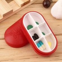 New Red Pill Storage Box Portable Travel Emergency First Aid Kits 6-Slot Medical Pill Box Holder Medicine Drug Case(China (Mainland))