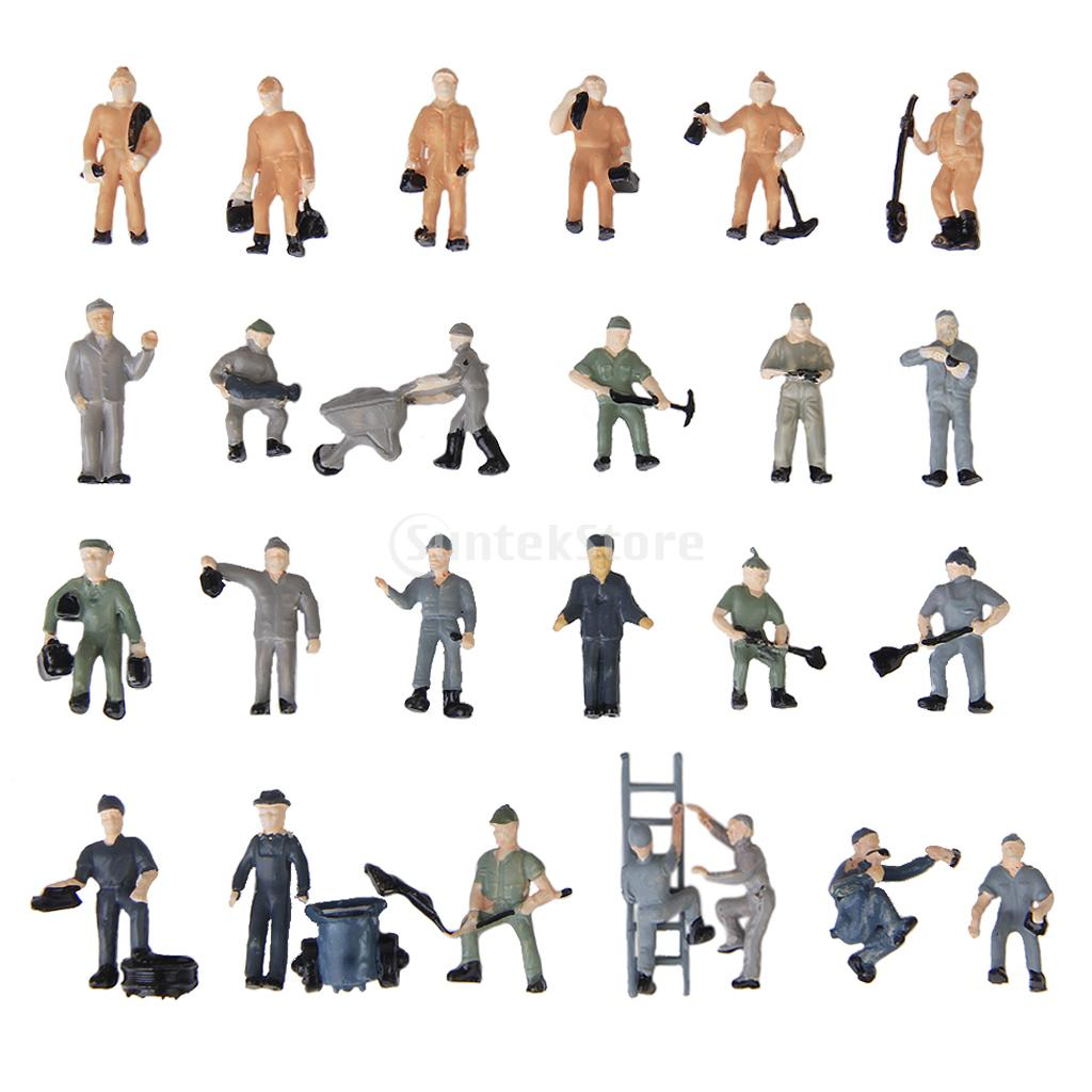New 2015 Brand New 25pcs 1:87 Painted Mix Model Train HO Railway Worker People Figures with ladder and bucket(China (Mainland))