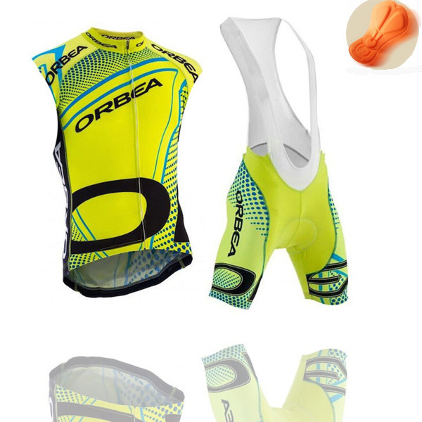ropa cilcimso orbea sleeveless Fluo yellow cycling jersey vest orbea bike bicicleta 2015 bib shorts mtb cheap wear custom(China (Mainland))