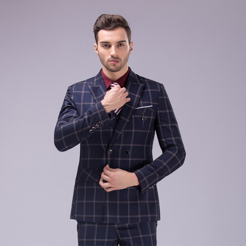Online Buy Wholesale double breasted plaid suit from China double