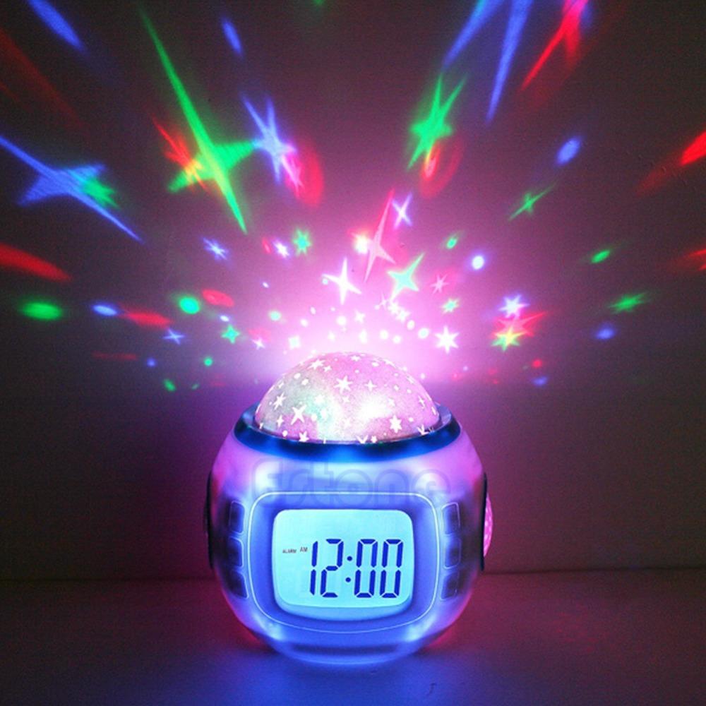 Sky Star Children Baby Room Night Light Projector Lamp Bedroom Music Alarm Clock(China (Mainland))