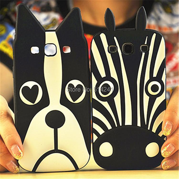 3D Cute Cartoon Animal Dog Zebra Rubber Shell Samsung Galaxy E7 Protective Back Cover
