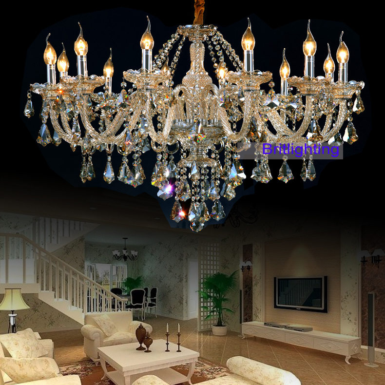 Elegant Crystal chandelier modern crystal chandelier chain Luxury Chandeliers led champagne crystal chandelier with pendants(China (Mainland))