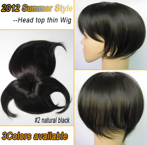 2013 New Style Top Head Skin Thin Wig Top Skin Wig Synthetic Wigs 5 Colors Optional Natural Black Free Shipping<br><br>Aliexpress