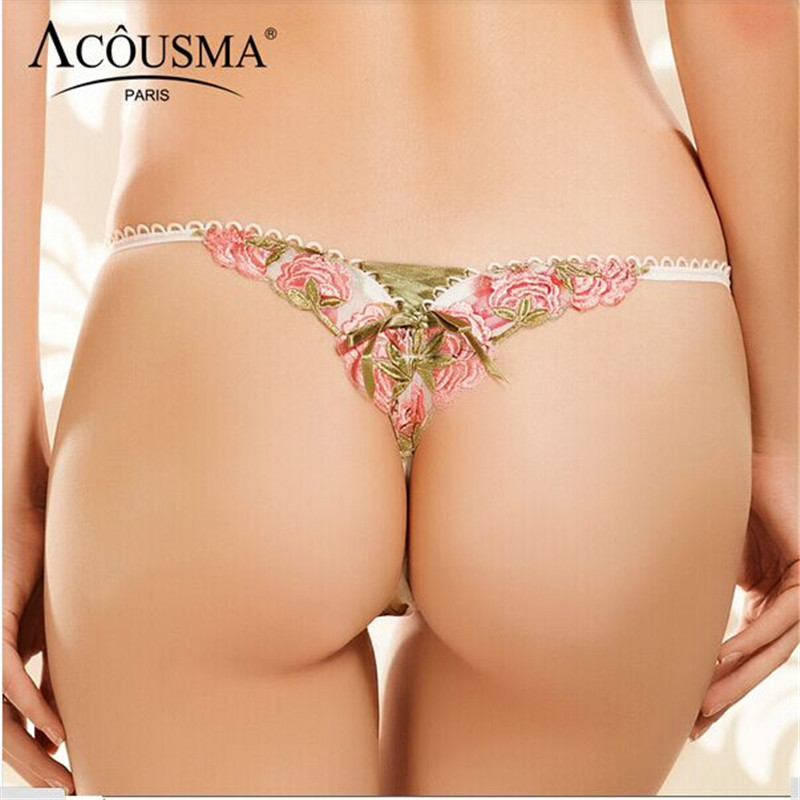 2016 New Sexy women thong High quality red rose print embroidery G String Plus size code women's underwear t low-waist  panties