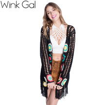 Wink Gal 2015 Womens Fall Fashion Long Sleeve Floral Long Black Lace Cardigan Women Sweater Promotion 1488(China (Mainland))