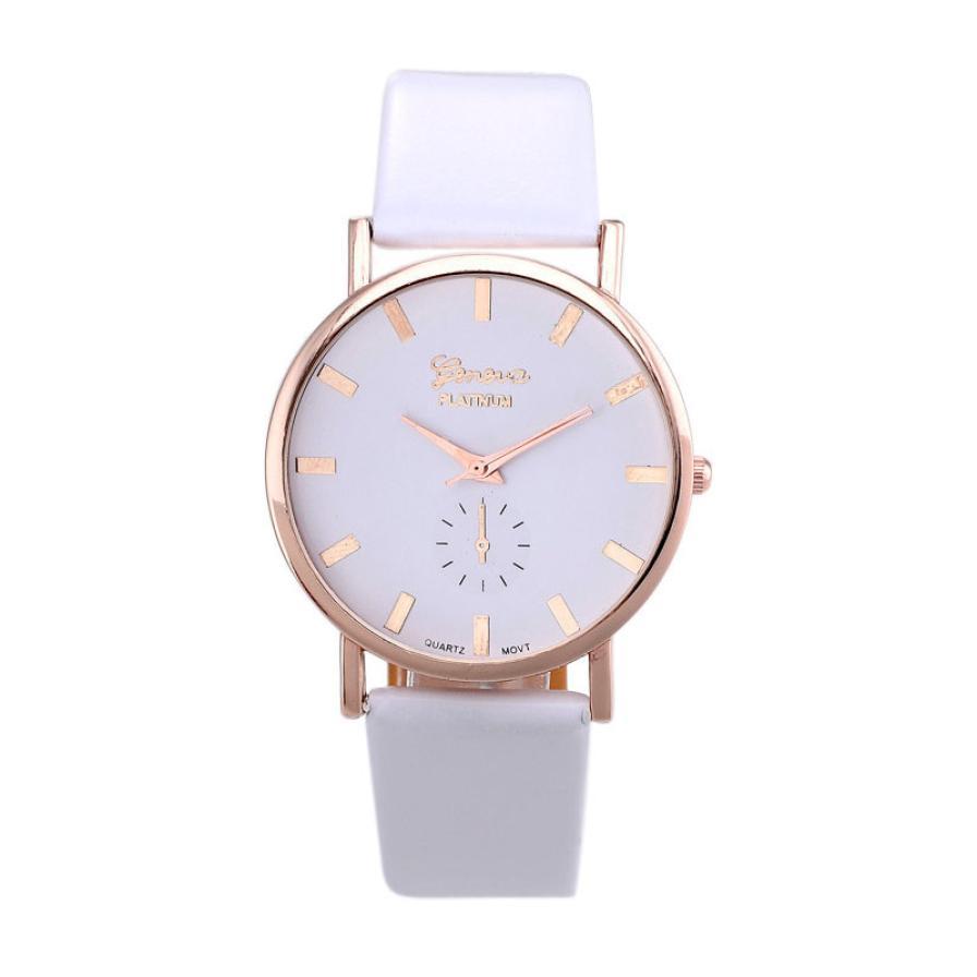 Гаджет  New Geneva Quartz-Watch Women Faux Leather Analog Wristwatch Women