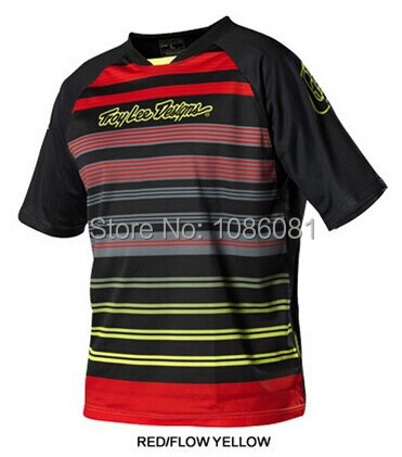 Hot sale! 2014 Troy Lee Designs Skyline lee Jersey MX DH Offroad Cycling Bike Sports TLD Short Jersey T-shirts RED/FLOW YELLOW(China (Mainland))