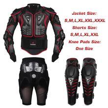 Motocross Racing Motorcycle Body Armor protection Jacket + de protection Gears pantalon court + de protection moto Knee Pad(China (Mainland))