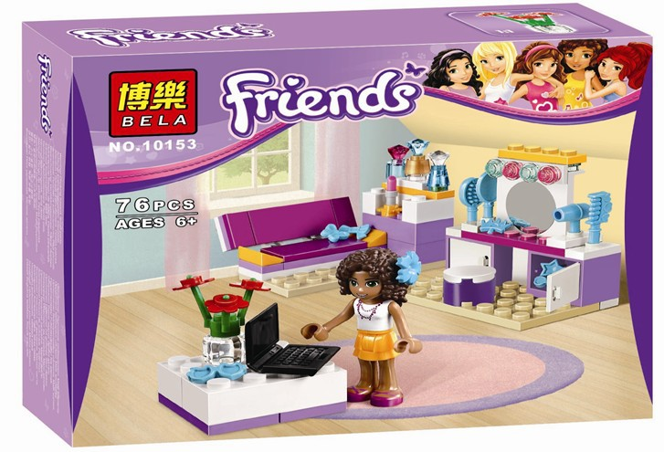 Girls Friends Series BELA 10153 Andrea's Bedroom Building Block toys Kids Toys Compatible with Lego Develop Intellectual toys(China (Mainland))