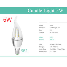 LED Bulb Candle Light Spotlights ampolletas led E14 SMD2835 5W 7W AC 220V 240V Cold Warm White Chandelier Lamps(China (Mainland))