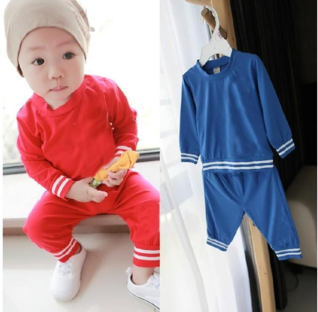 2015 new arrive brand logo baby clothes long sleeves children t shirt children clothing sets boys sport clothes 5sets/lot()