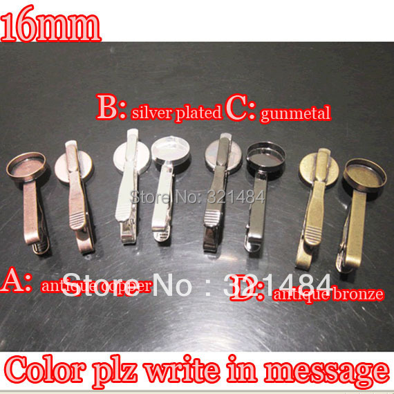 200pcs Color can pick up Men's Tie Clip Blank Base Cufflinks Round 16mm bezel setting