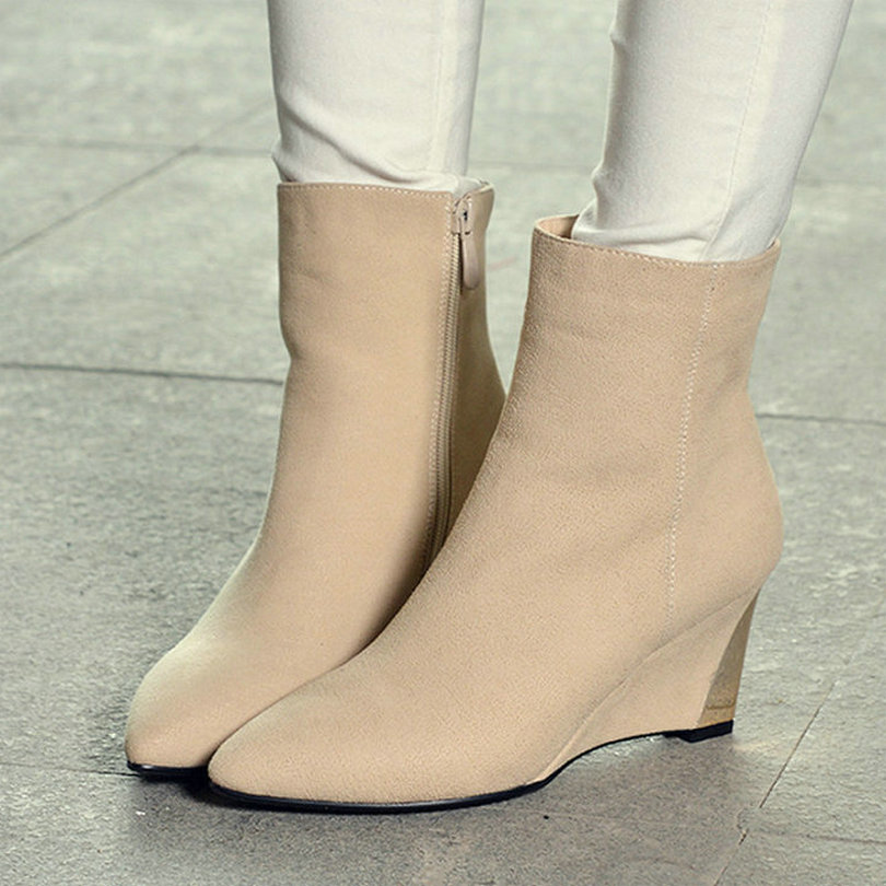 women ankle boots round toe autumn winter fashion shoes,women Martin boots wedge high-heel platform boots for women